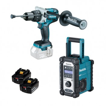 Perceuse frappeuse 18V DHP481 + 2 Accus + Radio DMR110 Makita