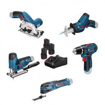 Set de 5 machines 12 V + GSR + GST + GOP + GKS + GSA + 3 Accus Bosch