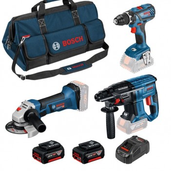 Set de 3 machines 18V + Accus + Sac de transport Bosch