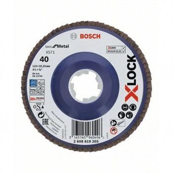 Plateau à lamelles X-LOCK X571 Best for Metal pour Meuleuse Bosch 115mm P40