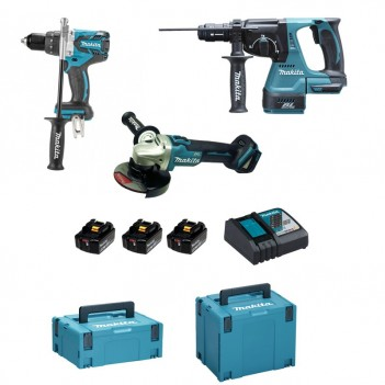 Pack 3 machines Makita Perceuse/Meuleuse/Perfo DLX3092TJ