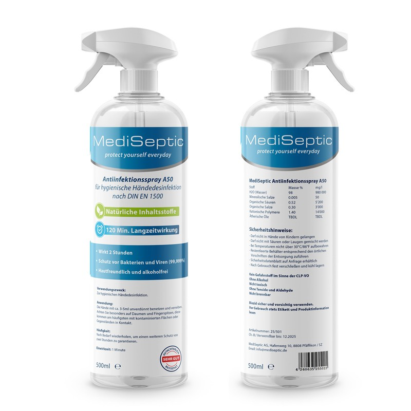 Spray antiseptique 500ml sans alcool MediSeptic