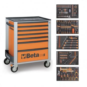 Servante mobile d'atelier 7 tiroirs 295 outils 2400S-O7/E-L Beta